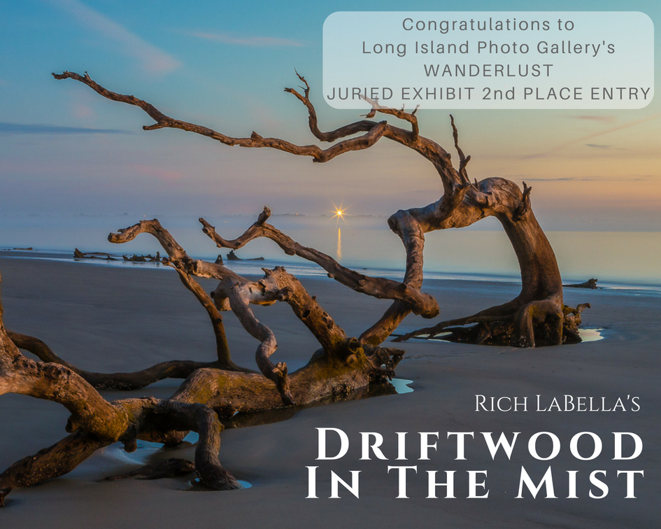 "Rich LaBella and his 2nd place winning entry from Long Island Photo Gallery juried photography exhibition 'WANDERLUST' titled ""DRIFTWOOD IN THE MIST"""