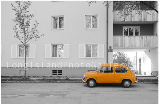 Orange Fiat 500 by Maria Pulice