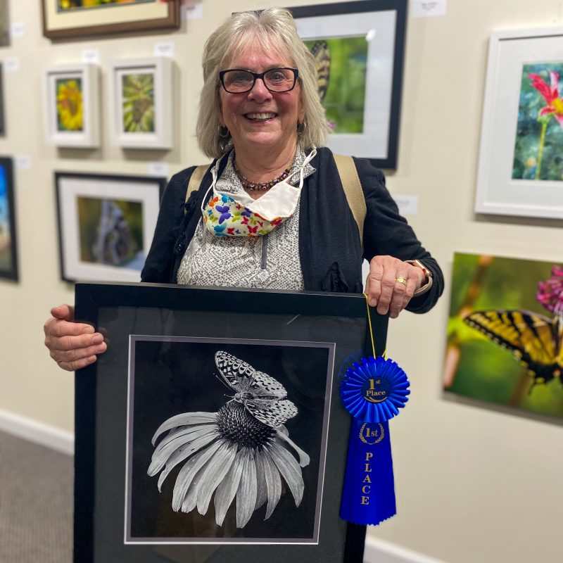 """1st Place is presented to """"Black And White Butterfly"""" by Bobbie Turner."""