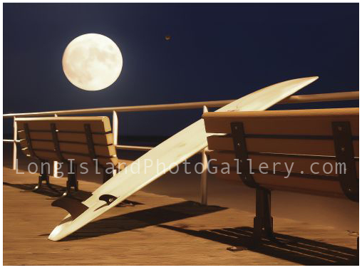 Surf Harvest Moon and Mars by Christina Tisi-Kramer