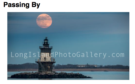 Photographer: Bobby Alan Location: Orient Point Description: Rising Super Moon over the Orient Point Lighthouse.
